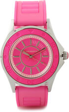 Juicy Couture Rich Girl Pink Neon Silicone Rubber Strap Silver Runway Watch