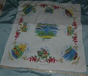 "Vintage Linen Tablecloth 32""x 34.5"" Screen Printed Souvenir Douglas Views c1950s"