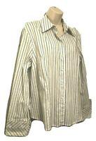 Talbots Women's Blouse Size XL (16) Long Sleeve Striped Button Down Shirt