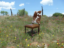 Spanish Cowhide Leather Dining Chair + Distressed Wood Frame + Brass Nails $350