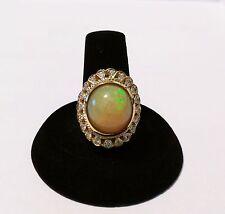 Stunning Jaqu De Lili 14K Yellow Gold 6.50CT Opal 0.40CT Diamond Ring NWT