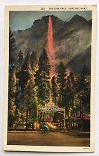 The Fire Fall Glacier Point Camp Curry Yosemite California White Border Postcard