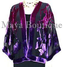 Silk Velvet Jacket Short Kimono No Fringe Hand Dyed Pink Purple Maya Matazaro