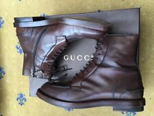 Gucci Mens Shoes Brown Leather Military Ankle Boots UK 9.5 US 10.5 43.5 325856