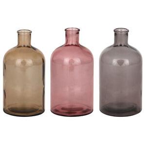 S/3 Coloured Retro Bottle Vases