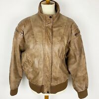 ADVENTURE BOUND Brown Distressed Leather Lined Bomber Jacket - Women's Size L