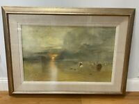 Large Lithograph Print After JMW Turner Calais Sands at Low Water