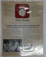 1934-S Walking Liberty Silver Half-Dollar, Circulated, W/ Fact Sheet About 1934