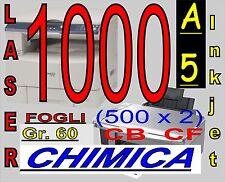 1000 FOGLI DI CARTA CHIMICA RICEVUTE FISCALI X STAMPANTI LASER INKJET A5