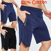 Mens 100% Cotton Gym Casual Jogging stretch Shorts Pant Sweatpant Trousers