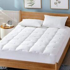Queen Size Mattress Cover Pillow Topper Bed Pad Cotton Deep Pocket Noiseless