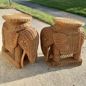 Vintage Natural Wicker Elephant Side Table SET OF 2 Plant Stand Woven Rattan