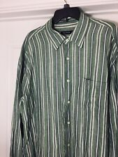 Men's Nautica Long Sleeve Linen Blend Button Front Shirt Size L Striped F42