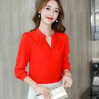 Women T-Shirt Shirt Loose Blouse Summer Ladies Chiffon Top Long Sleeve Fashion
