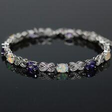 Opal Amethyst Oval Cut Tennis Bracelet 8 in Sterling Silver