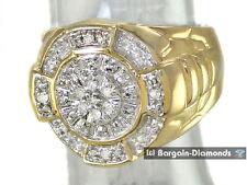 mens Diamond .10 carats Ice Bling 925 yellow ring Hip Hop clubbing man