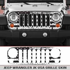 Jeep Grille Skin USA Distressed Flag Grill die cut Fits: Jeep Wrangler JK 07-18