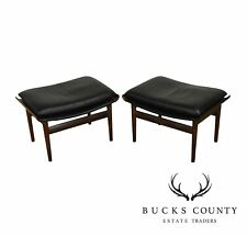 "Finn Juhl For France & Sons Black Leather & Rosewood Pair ""Bwana"" Ottomans"