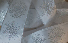 1m Wire Edged Christmas Ribbon. White With Silver Glittery Snowflake Design