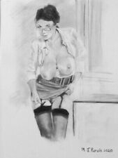 '' LIFT ''-nude ORIGINAL CHARCOAL drawing by M.J.Purvis NO RESERVE