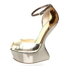 Giuseppe Zanotti Design Heel Less Leather Platform Metallic Women Sz 40 EUR 1676