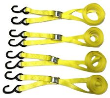 "Heavy-Duty Cam Lock Buckle Tie Down Straps With S Hooks 1"" x 12' 4pc Set Yellow"