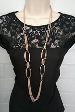 "Stunning 40"" long ROSE GOLD tone layered - chunky link chain necklace"