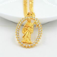 18K Gold Plated Grim Reaper Necklace w Cubic Zirconia Cadena De La Santa Muerte