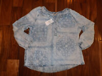 NWT Womens VINTAGE AMERICA Blue Sky Denim Peasant Long Sleeve Blouse Shirt XL