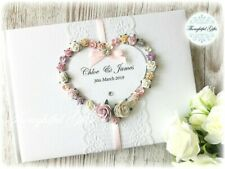 💖Luxury Personalised Wedding Guest Book Floral Heart/ Lace/ Diamante-All Colour