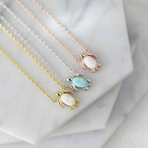 Rose Gold Dainty Sea Turtle Opal Pendant Necklace Women Animal Jewelry Gift
