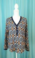 Anthropologie Skies Are Blue Diamond Pattern Blouse Size Small New Without Tags