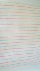 """4 Vtg. Receiving Hospital Baby Blankets Flannel Striped Pink Blue 38""""x 31"""" NEW"""