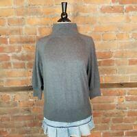 Talbots Women's Knit Top Gray 3/4 Sleeves Mockneck Size L