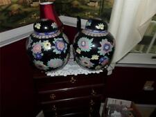 VNTG. LOT OF GINGER JARS WITH LIDS ORIENTAL HAND PAINTED NICE FAMILLE