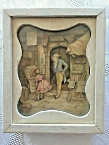 Vintage Anton Pieck Shadow Box Book Store Little Girl Wooden Frame 5 1/2 x 4 1/2