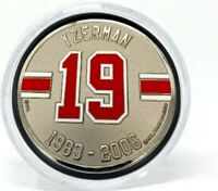 Steve Yzerman Detroit Red Wings 3D Textured Silver Plated Medallion Puck in Tube