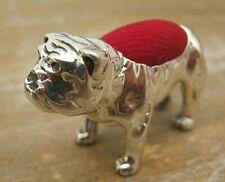 Fabulous Edwardian Style Sterling Silver English Bulldog Dog Pin Cushion
