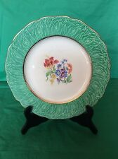 GRAY'S POTTERY MADE IN STOKE ON TRENT ENGLAND PLATE GREEN BAND FLOWER TULIP 10,5