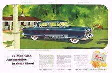 1952 NASH Ambassador Custom Blue 2-door Hardtop Horses Centerfold Vtg Print Ad