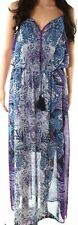 Maggy London Purple Blue Paisley Print V-Neck Maxi Dress Womens Size 10