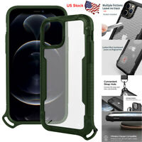 For iPhone 12 Pro Max Case Heavy Duty Shockproof Carbon Fiber Clear Back Cover
