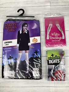 NEW Adult Creepy School Girl Costume Bundle Halloween Horror Fancy Dress Outfit