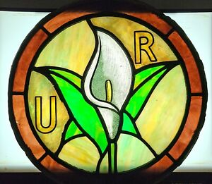 ROUND STAINED GLASS CHURCH WINDOW CALLA LILY FLOWER ANTIQUE LEADED CIRCULAR