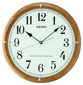 Seiko Radio Controlled Round Wooden Battery Wall Clock - Clear Numbers QXR303Z