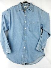 Disney Long Sleeve Blue Denim Mickey Mouse Goofy Donald Shirt Jean Womens Size S