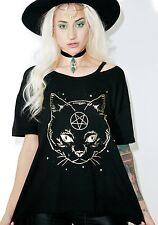 WILDFOX Magic Cat Pet Gold Shirt Black Magic Top Small Alumni Tee NEW WITH TAGS!