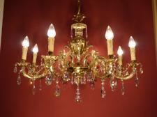 "BRASS SHINY CRYSTAL CHANDELIER CEILING LAMP BRASS FOYER Ø 35""  8 LIGHT HOTEL"