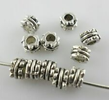 80pcs Tibetan Silver Hole:2mm Spacer Beads Crafts Jewelry Making 3x4.5mm