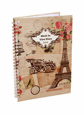 2018 A5 Week To View  Spiral Bound Diary Hardback Cover - Vintage Pink